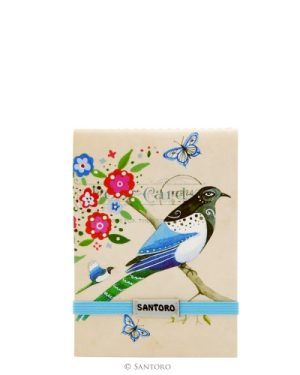 Stitched Pocket Notebook Black headed bird study Santoro Eclectic
