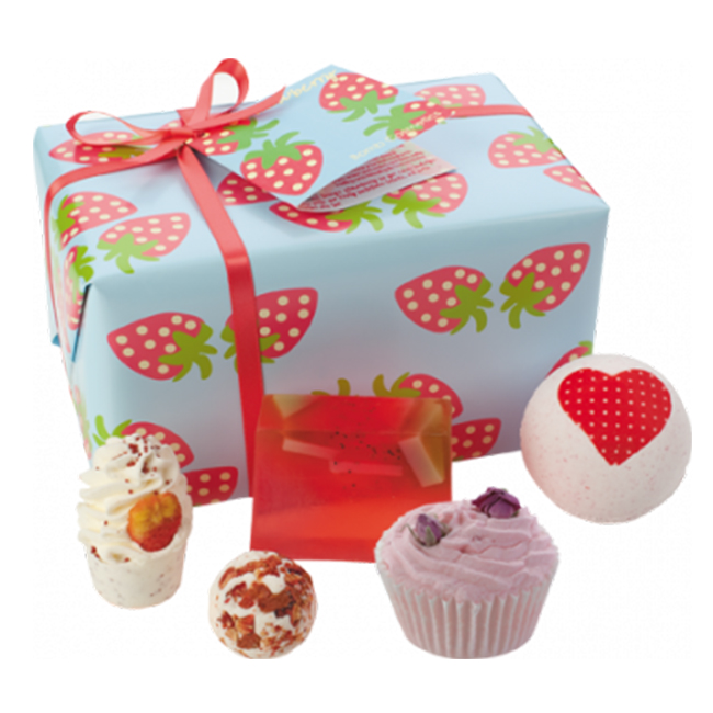 bomb cosmetics gift pack strawberry patch