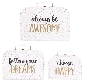 Always Be Awesome Set of 3 Metallic Monochrome Suitcases - Sass and Belle