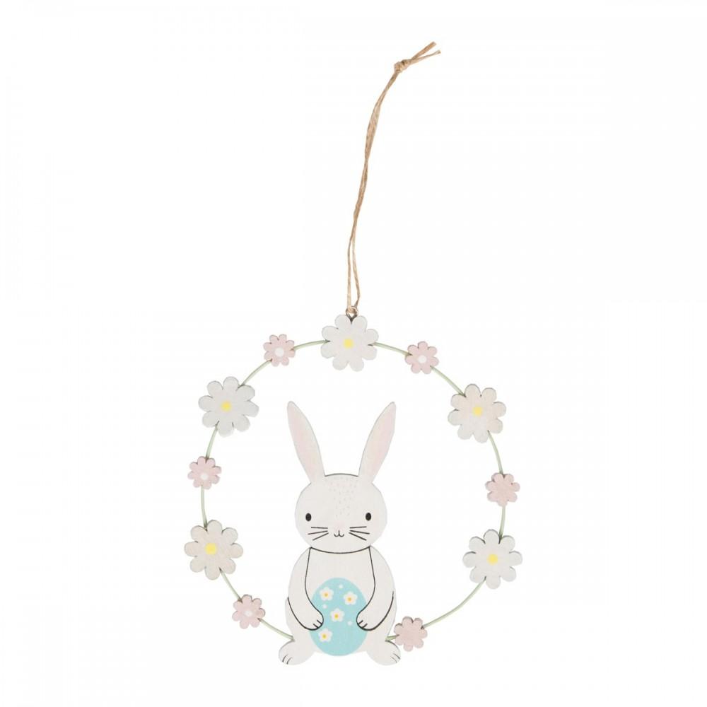 Wooden Easter Spring Bunny Egg & Flower Hanging Decoration - Sass and Belle