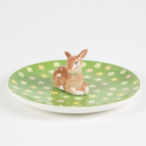 sass and belle woodland floral fawn trinket dish