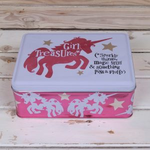 the bright side girl treasures tin unicorn
