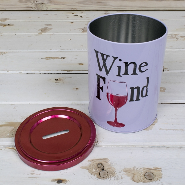 the bright side wine fund tin money box