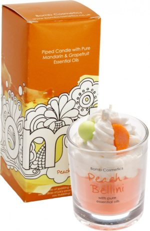 Peach Bellini Piped Candle - Bomb Cosmetics