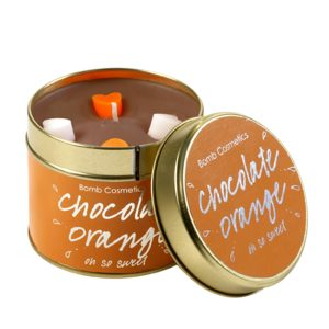 bomb cosmetics tinned candle Chocolate Orange