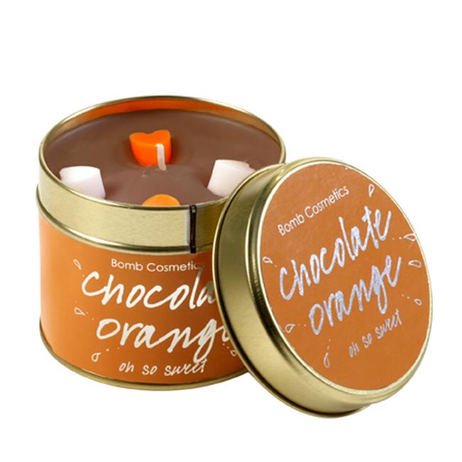 bomb cosmetics tinned candle Chocolate Orange