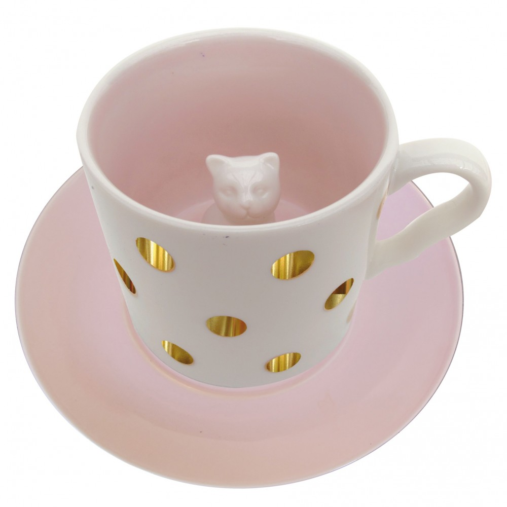Spotty Cat Cup - Disaster Designs