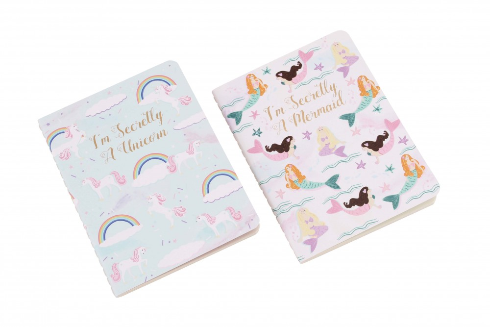 Set of 2 Mermaid and Unicorn A6 Notebooks - Cloud Nine