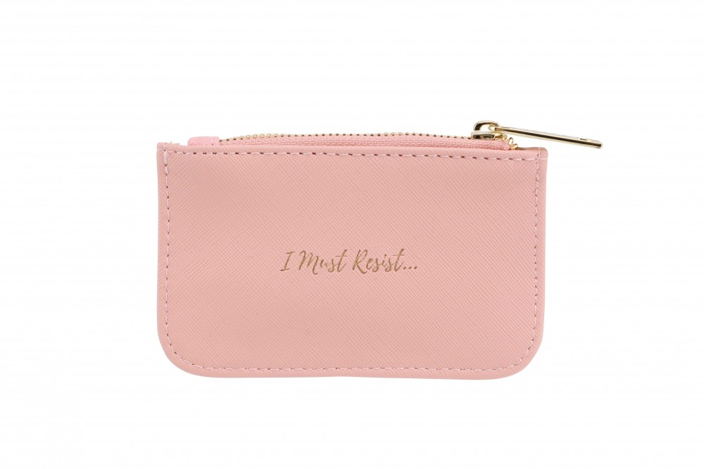 'I Must Resist' Coral Pink Rectangular Purse - Willow and Rose