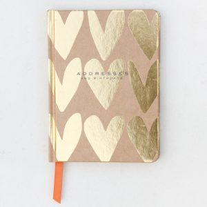 Gold Kraft Hearts Address & Birthday Book - Caroline Gardner