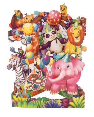 Santoro Animal Party 3D Pop-Up Swing Card - Greetings and Birthday Card