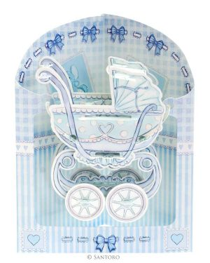 Santoro Blue Baby Boy Pram 3D Pop-Up Swing Card - Greetings and Birthday Card