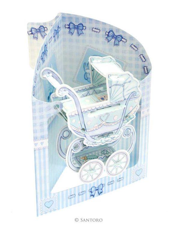 Santoro Blue Baby Boy Pram 3D Pop-Up Swing Card - Greetings and Birthday Card