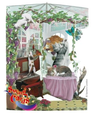 Santoro Cats In Conservatory 3D Pop-Up Swing Card - Greetings and Birthday Card
