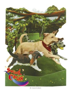 Santoro Dogs In the Park 3D Pop-Up Swing Card - Greetings and Birthday Card