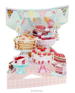Santoro Home Baked Cakes 3D Pop-Up Swing Card - Greetings and Birthday Card