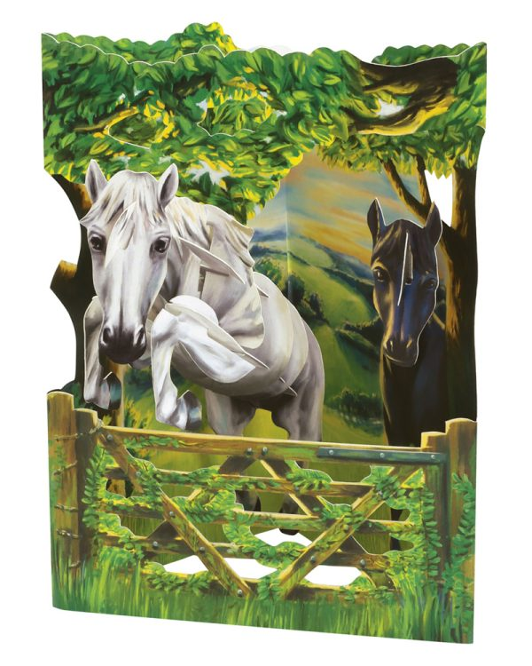 Santoro Jumping Horse 3D Pop-Up Swing Card - Greetings and Birthday Card