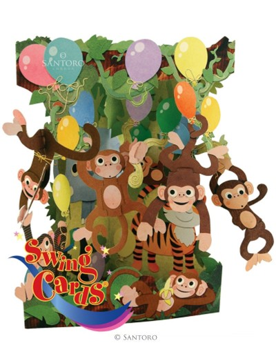Santoro Monkey Party 3D Pop-Up Swing Card - Greetings and Birthday Card