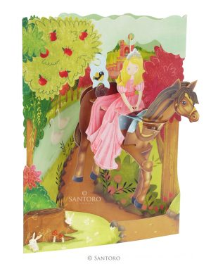 Santoro Princess on a Horse 3D Pop-Up Swing Card - Greetings and Birthday Card
