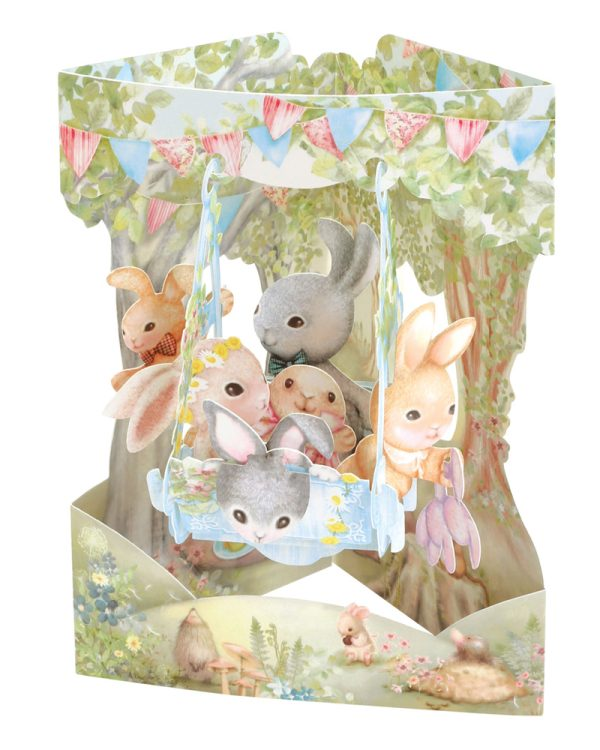 Santoro Rabbits On A Swing Boat 3D Pop-Up Swing Card - Greetings and Birthday Card