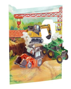 Santoro Tractors and Diggers 3D Pop-Up Swing Card - Greetings and Birthday Card