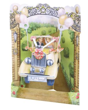 Santoro Wedding Car 3D Pop-Up Swing Card - Greetings and Birthday Card