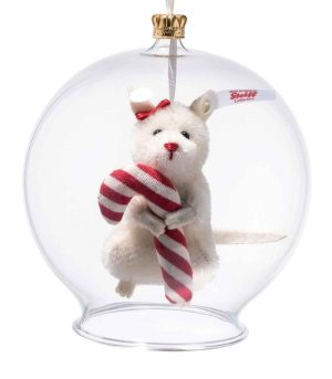 Steiff Limited Edition Christmas Candy Cane Mouse in Bauble Ornament - EAN 006296