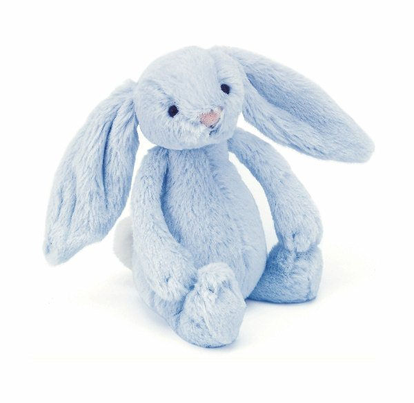 Jellycat Bashful Blue Bunny Rattle - Small 18 cm