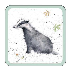 wrendale designs badger coaster