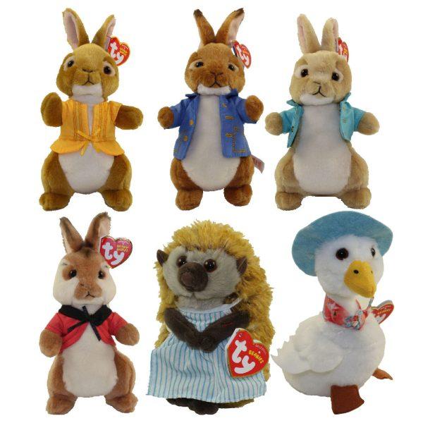 TY Beanie Peter Rabbit The Movie Soft Toy - Beatrix Potter set