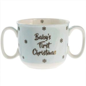 babys first christmas blue double handled mug