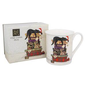 Christmas Cat Fine China Mug In Box - Bug Art