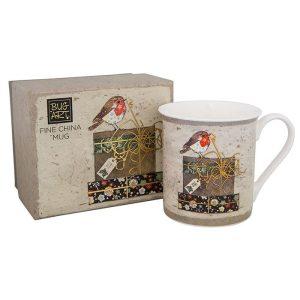 Christmas Robin Fine China Mug In Box - Bug Art