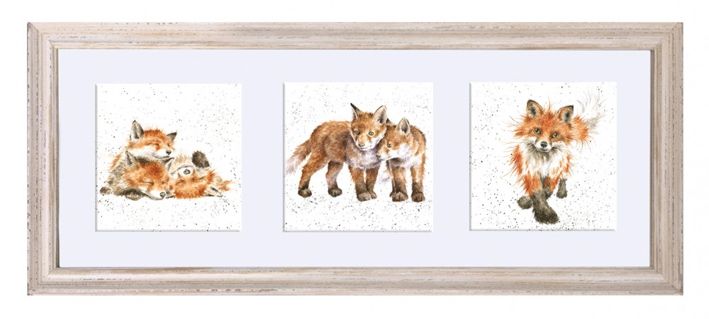 Wrendale Designs - A Trio of Fox Cubs Framed Print - White Frame