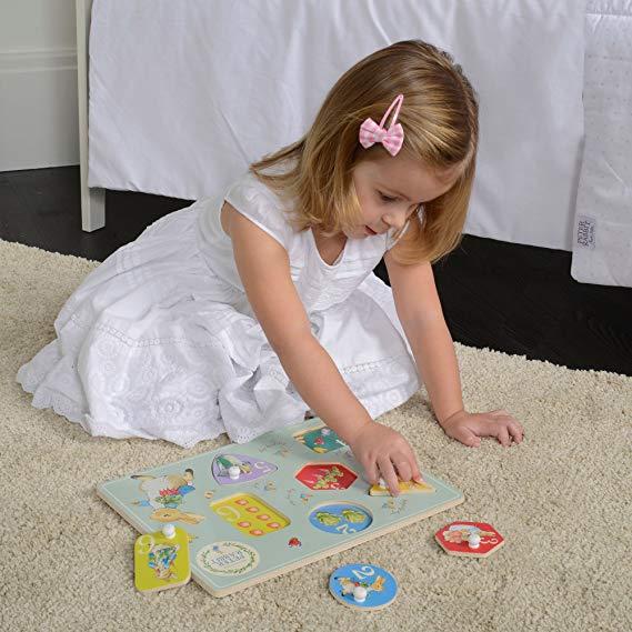 Peter Rabbit Wooden Peg Puzzle - Rainbow Designs