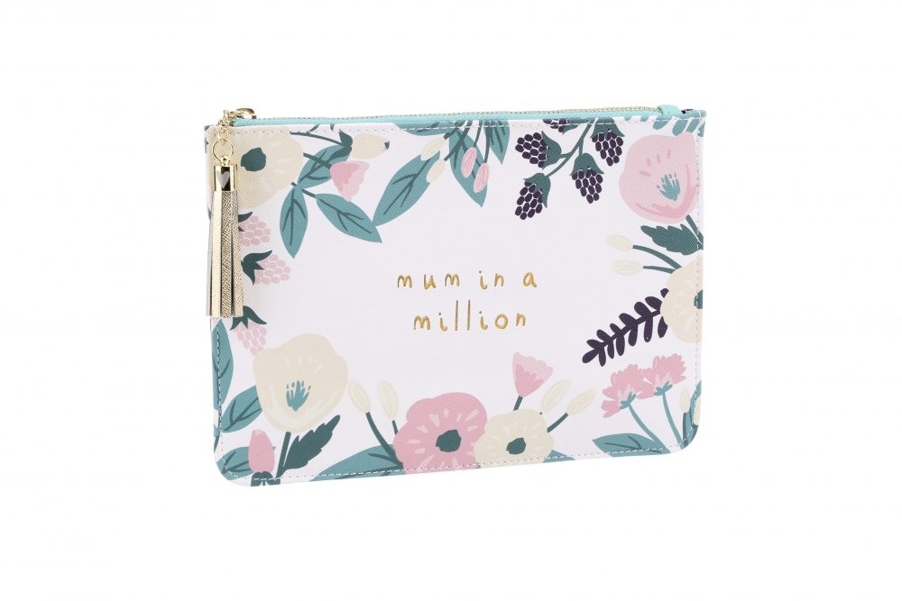 Mum In A Million White Floral Beauty Bag