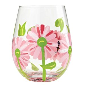 Lolita Oops a Daisy Hand Painted Stemless Wine Glass Tumbler (Copy)