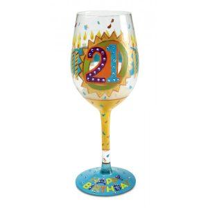 Lolita 21st Birthday Hand Painted Wine Glass