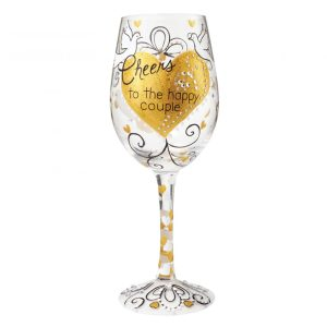 Lolita Cheers to the Happy Couple Hand Painted Wine Glass