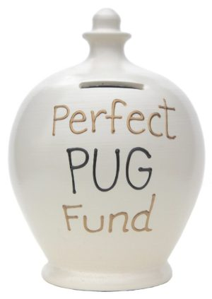 Terramundi Money Pot Perfect Pug Fund, White