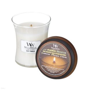 WoodWick Baby Powder Medium Hourglass Candle, 658g