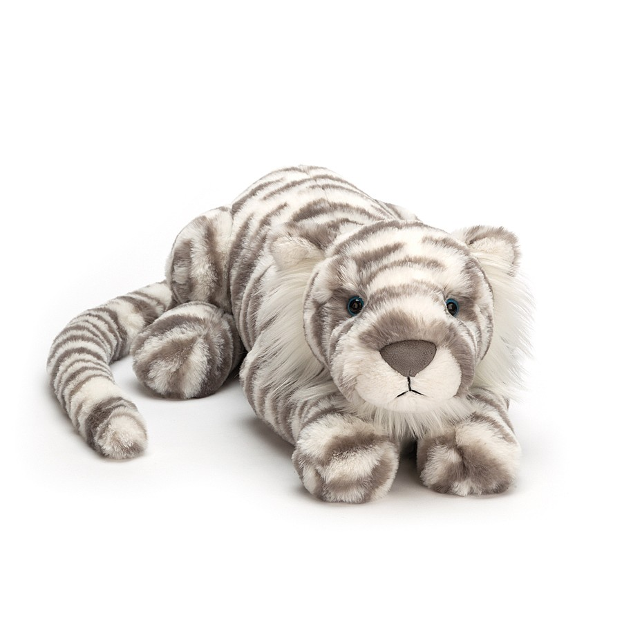 Jellycat Little Sacha Snow Tiger - Medium, 11 Inch