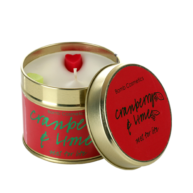 Cranberry & Lime Tinned Candle - Bomb Cosmetics