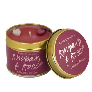 Rhubarb & Rose Tinned Candle - Bomb Cosmetics