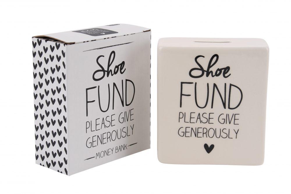 Absolutely Fabulous 'Shoe Fund' Cream Ceramic Money Bank - CGB Giftware