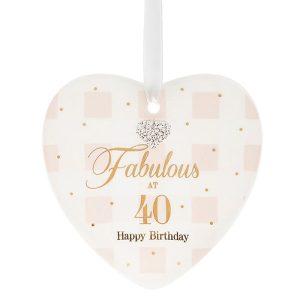 Mad Dots 'Fabulous At 40' Happy Birthday Ceramic Heart Hanger