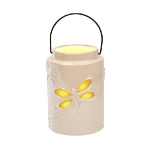 White Ceramic Dragonfly Lantern Tea Light Holder Richard Langs