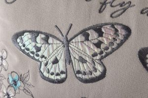 Embroidered Butterfly Cushion richard lang