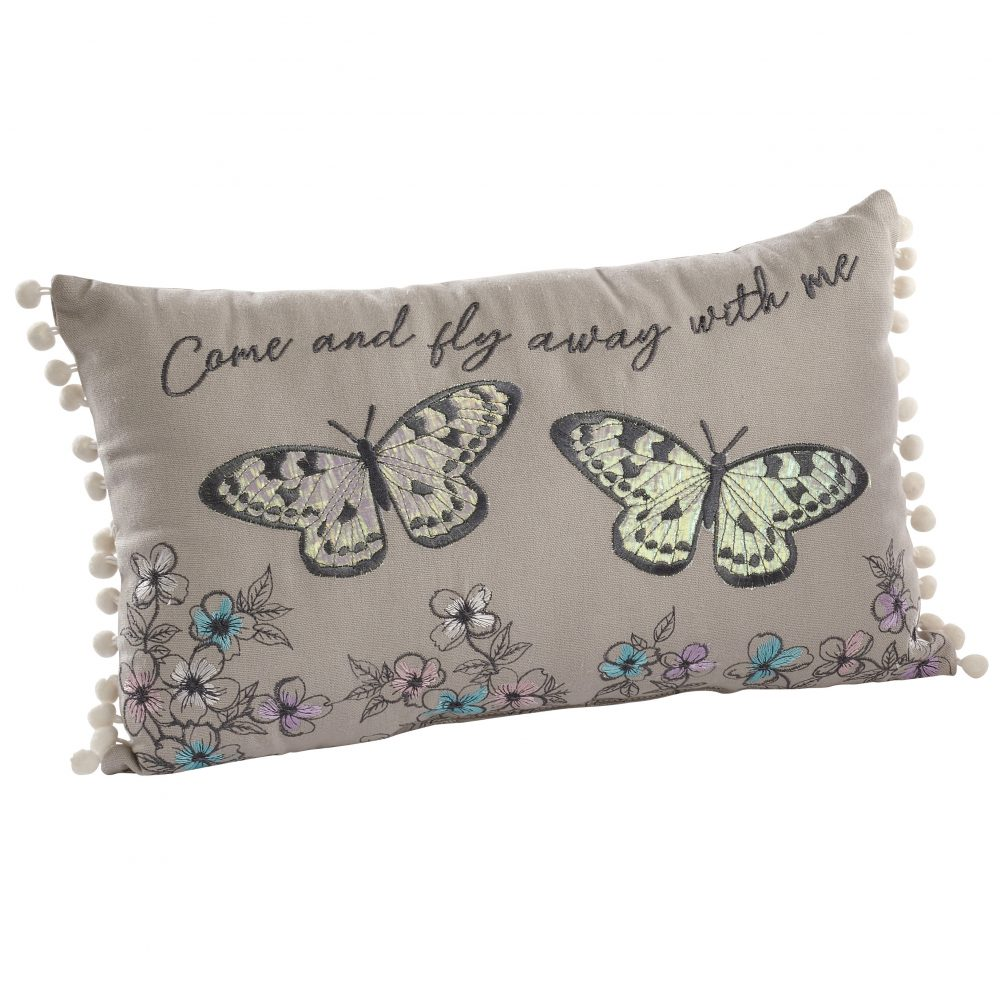 Embroidered Butterfly Cushion - Come and Fly Away With Me