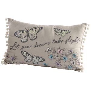 Embroidered Butterfly Cushion - Let Your Dreams Take Flight